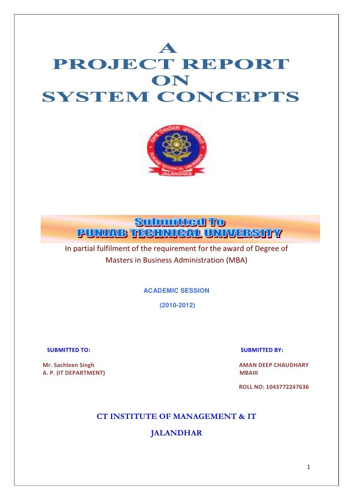 In partial fulfilment of the requirement for the award of Degree of                     Masters in Business Administration...