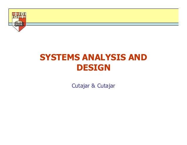 SYSTEMS ANALYSIS ANDDESIGNCutajar & Cutajar