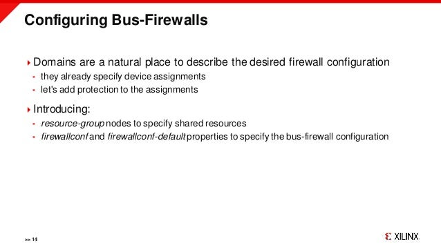 Configuring Bus-Firewalls >> 14 Domains are a natural place to describe the desired firewall configuration  they already...