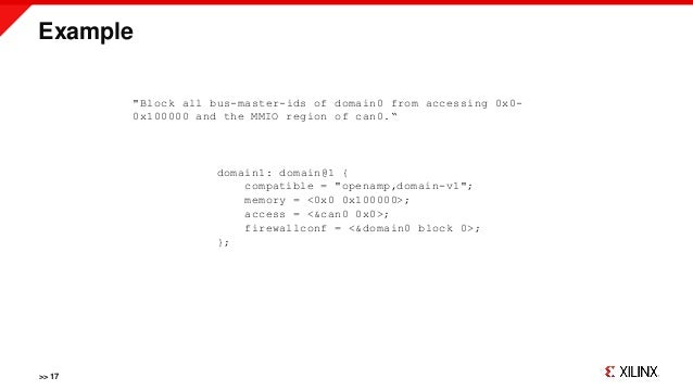"""Example >> 17 """"Block all bus-master-ids of domain0 from accessing 0x0- 0x100000 and the MMIO region of can0."""" domain1: dom..."""