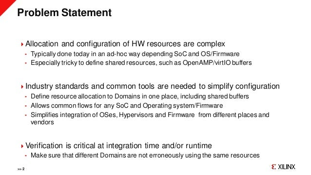 Problem Statement Allocation and configuration of HW resources are complex  Typically done today in an ad-hoc way depend...