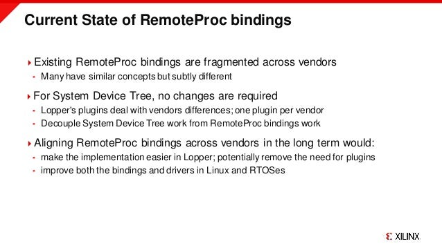 Current State of RemoteProc bindings Existing RemoteProc bindings are fragmented across vendors  Many have similar conce...