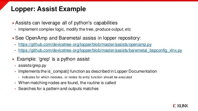 Lopper: Assist Example Assists can leverage all of python's capabilities  Implement complex logic, modify the tree, prod...