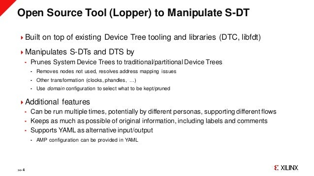 Open Source Tool (Lopper) to Manipulate S-DT Built on top of existing Device Tree tooling and libraries (DTC, libfdt) Ma...