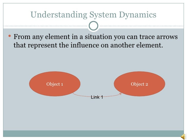 Understanding System Dynamics <ul><li>From any element in a situation you can trace arrows that represent the influence on...