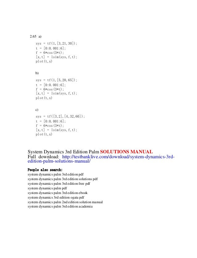 System dynamics 3rd edition palm solutions manual 85 publicscrutiny Image collections