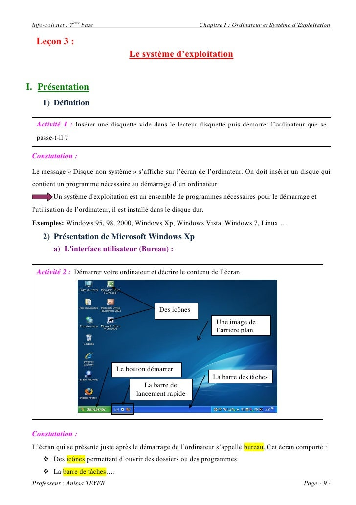 info-coll.net : 7ème base                                       Chapitre I : Ordinateur et Système d'Exploitation  Leçon 3...
