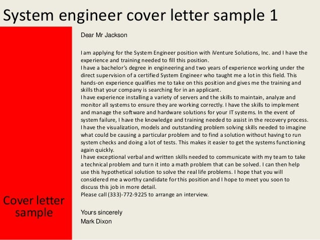 System Engineer Cover Letter Sample Cover Letter For Engineering ...