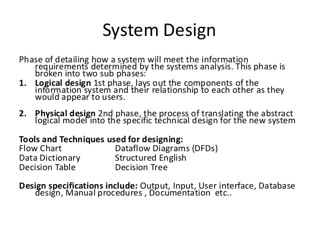 System Engineering Analysis And Design