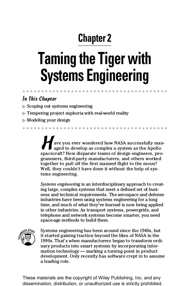 19 Chapter 2 TamingtheTigerwith SystemsEngineering