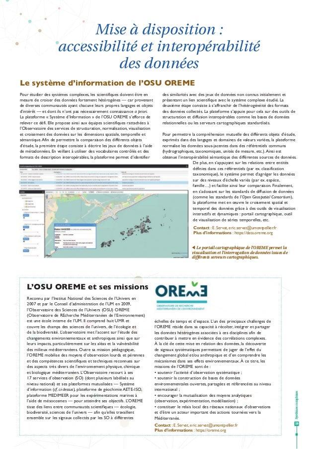 Systèmescomplexes 19 tt Le portail cartographique de l'OREME permet la visualisation et l'interrogation de données issues ...