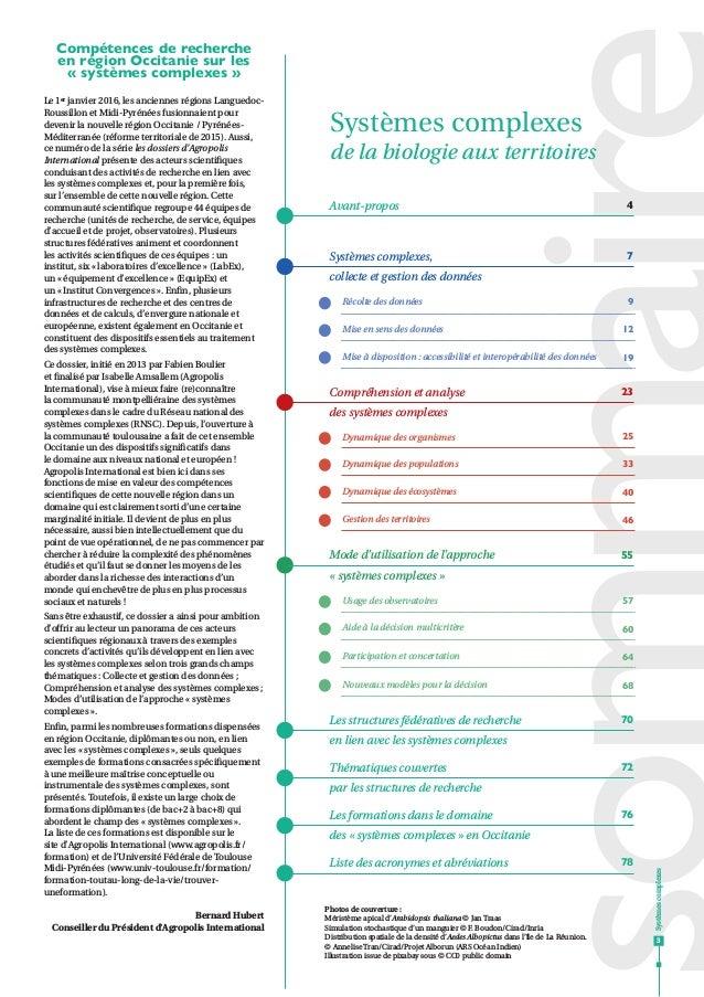 Systèmes complexes de la biologie aux territoires 4Avant-propos 70Les structures fédératives de recherche en lien avec les...
