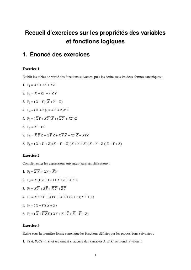 Recueil dexercices sur les propriétés des variables                et fonctions logiques1. Énoncé des exercicesExercice 1É...
