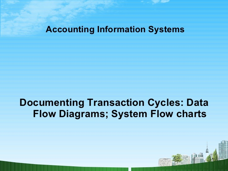 Accounting Information Systems <ul><li>Documenting Transaction Cycles: Data Flow Diagrams; System Flow charts </li></ul>