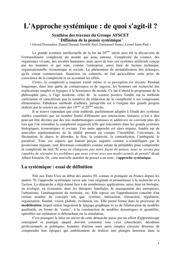 """LApproche systémique : de quoi sagit-il ?                    Synthèse des travaux du Groupe AFSCET                       """"..."""