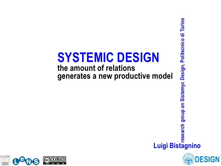 research group on Sistemyc Design, Politecnico di Torino SYSTEMIC DESIGN the amount of relations generates a new productiv...