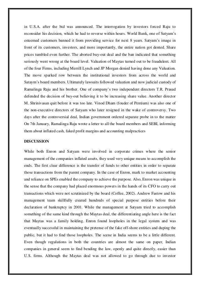 Systemic fraud – Ramalinga Raju Resignation Letter