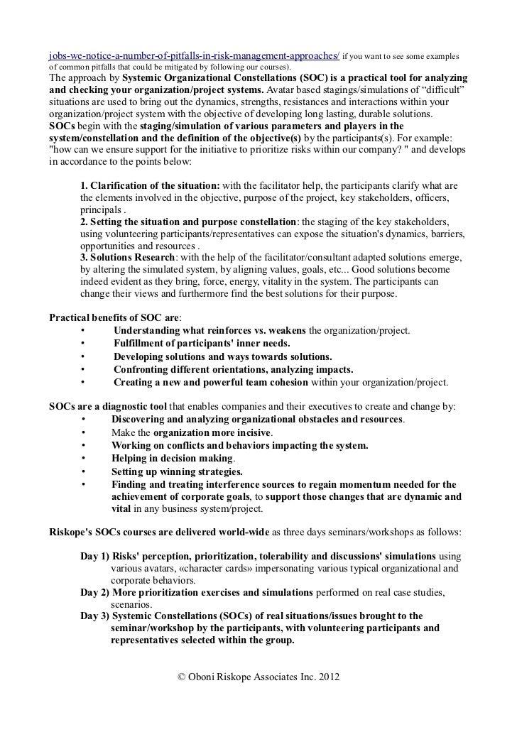 Systemic organizational constellations and risk riskope seminars Slide 2