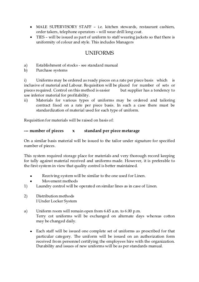 Uniform Policy Template. system of linen uniform operation. 8 ...