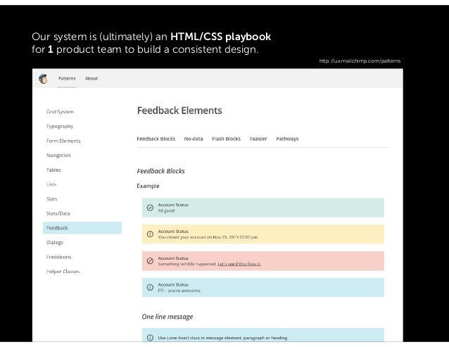 Our system is a design spec, asset library and/or (maybe) supporting HTML/CSS for our 10 product teams to share a consiste...