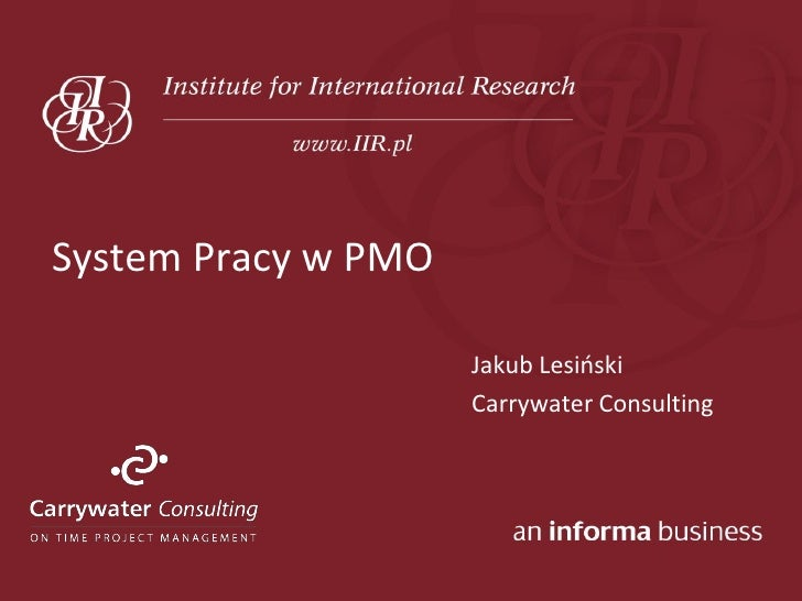 System Pracy w PMO                       Jakub Lesioski                      Carrywater Consulting