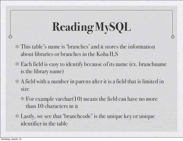 Reading MySQLThis table's name is 'branches' and it stores the informationabout libraries or branches in the Koha ILSEach ...