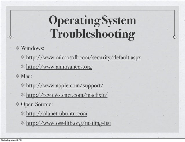 Operating SystemTroubleshootingWindows:http://www.microsoft.com/security/default.aspxhttp://www.annoyances.orgMac:http://w...