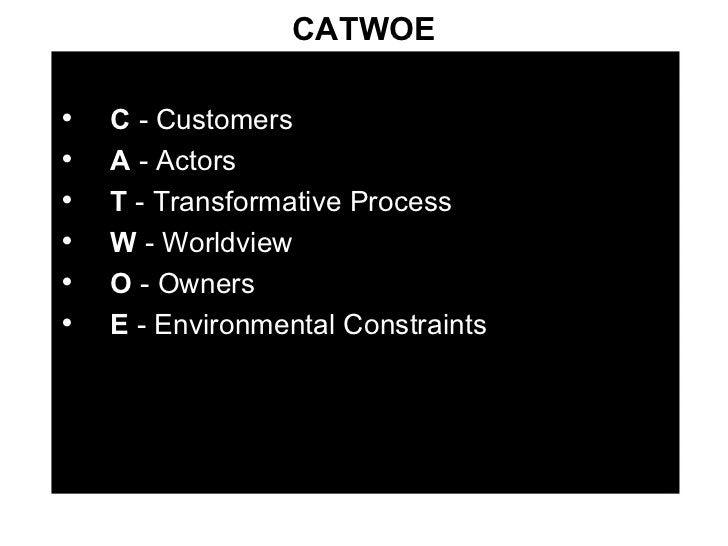 CATWOE <ul><li>C  - Customers </li></ul><ul><li>A  - Actors </li></ul><ul><li>T  - Transformative Process </li></ul><ul><l...