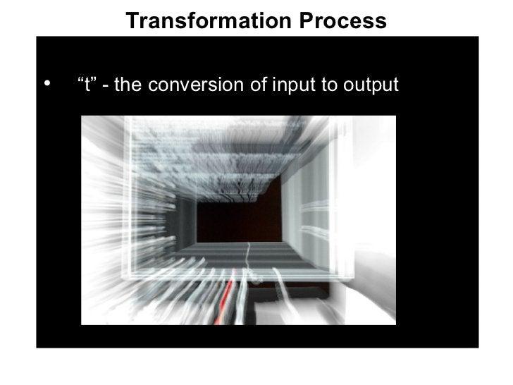 "Transformation Process <ul><li>"" t"" - the conversion of input to output </li></ul>"