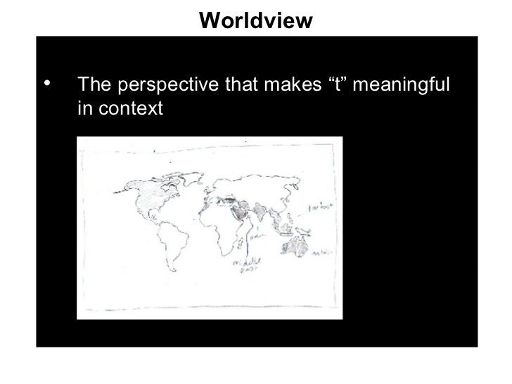 """Worldview <ul><li>The perspective that makes """"t"""" meaningful in context </li></ul>"""