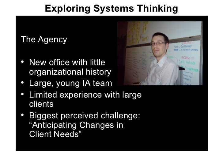 <ul><li>The Agency </li></ul><ul><li>New office with little organizational history </li></ul><ul><li>Large, young IA team ...