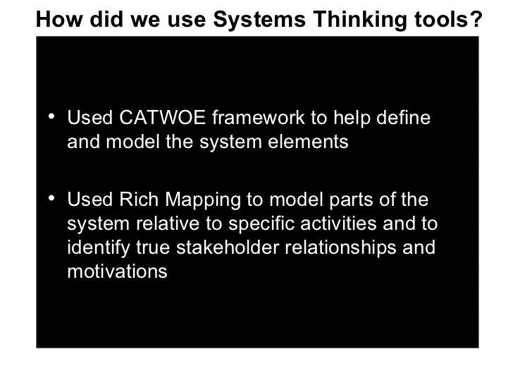 <ul><li>Used CATWOE framework to help define and model the system elements </li></ul><ul><li>Used Rich Mapping to model pa...