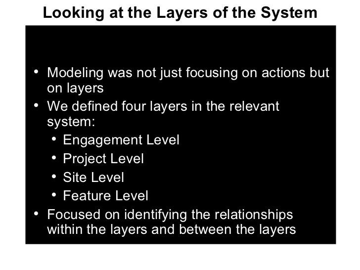 <ul><li>Modeling was not just focusing on actions but on layers </li></ul><ul><li>We defined four layers in the relevant s...