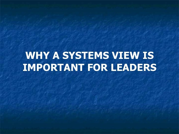 WHY A SYSTEMS VIEW IS IMPORTANT FOR LEADERS