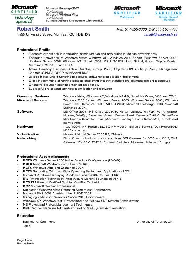 windows system administrator resume