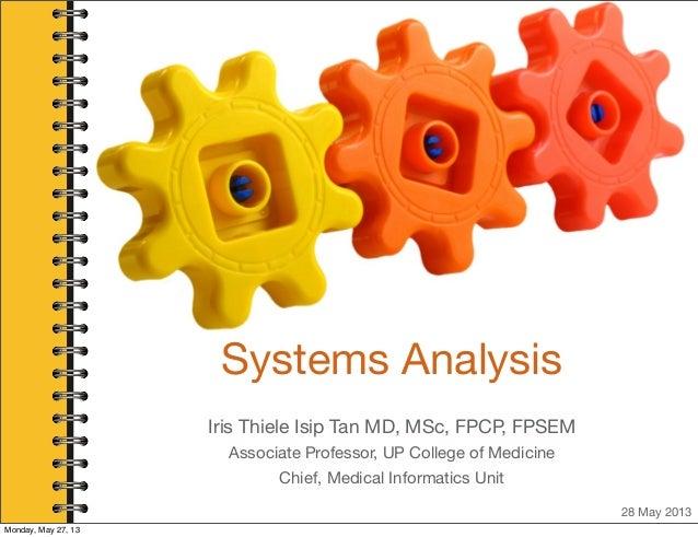 Systems AnalysisIris Thiele Isip Tan MD, MSc, FPCP, FPSEMAssociate Professor, UP College of MedicineChief, Medical Informa...