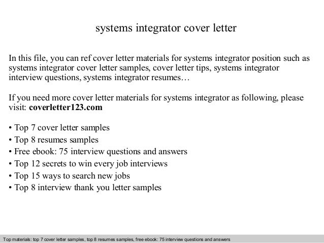 systems integrator cover letter in this file you can ref cover letter materials for systems