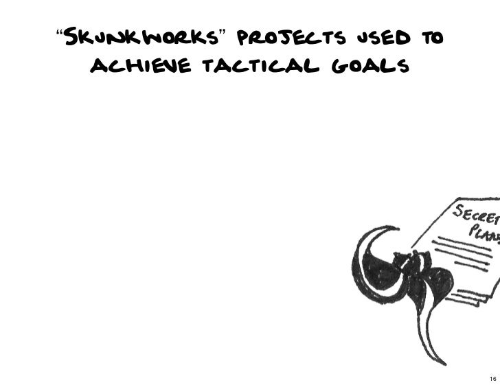 """Skunkworks"" projects used to   achieve tactical goals                                16                                  ..."