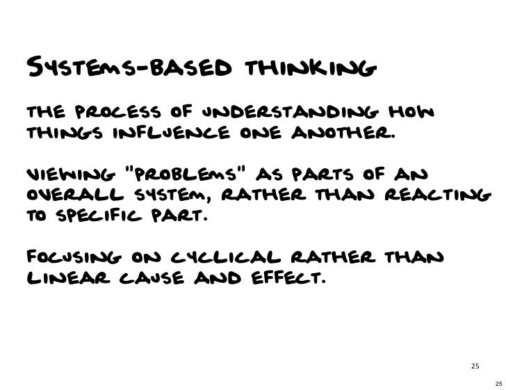 """Systems-based thinkingthe process of understanding howthings influence one another.viewing """"problems"""" as parts of anovera..."""