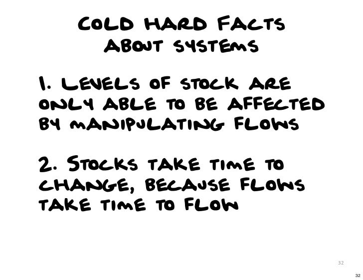 Cold hard Facts     about systems1. Levels of stock areonly able to be affectedby manipulating flows2. Stocks take time to...