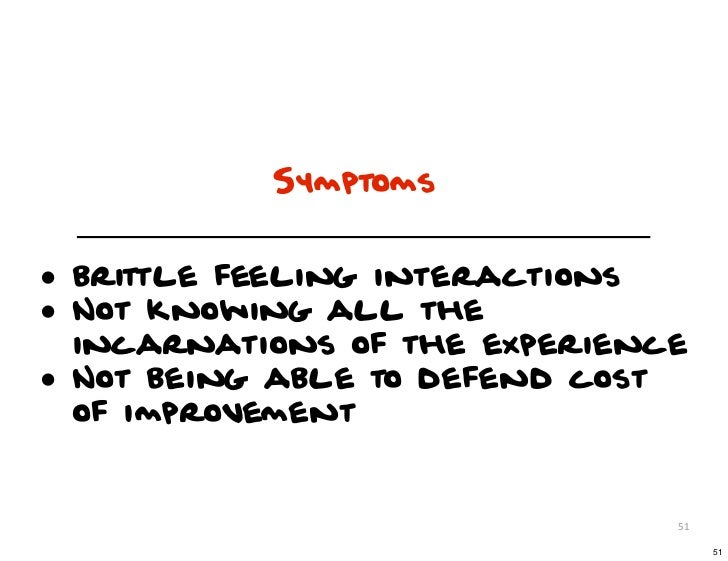 Symptoms• brittle feeling interactions• Not knowing all the    incarnations of the experience•   Not being able to defend ...