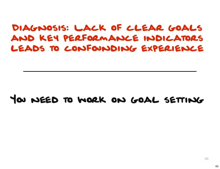 Diagnosis: Lack of clear goalsand key performance indicatorsleads to confounding experienceYou need to work on goal settin...