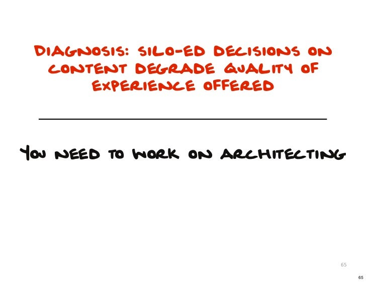 Diagnosis: silo-ed decisions on  content degrade quality of      experience offeredYou need to work on architecting       ...