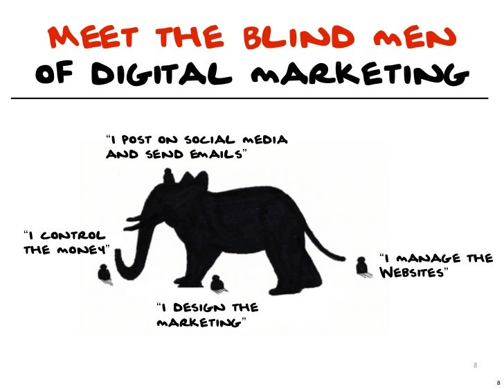 "Meet the Blind men of digital marketing         ""I post on social media         and send emails""""I controlthe money""      ..."