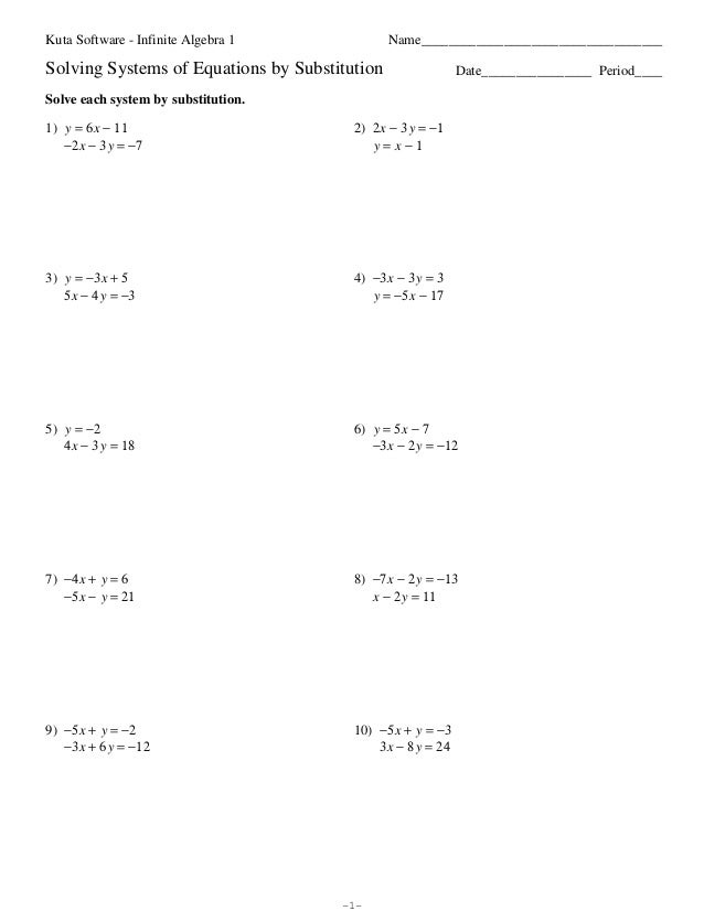 Systems Of Equations Substitution Worksheet