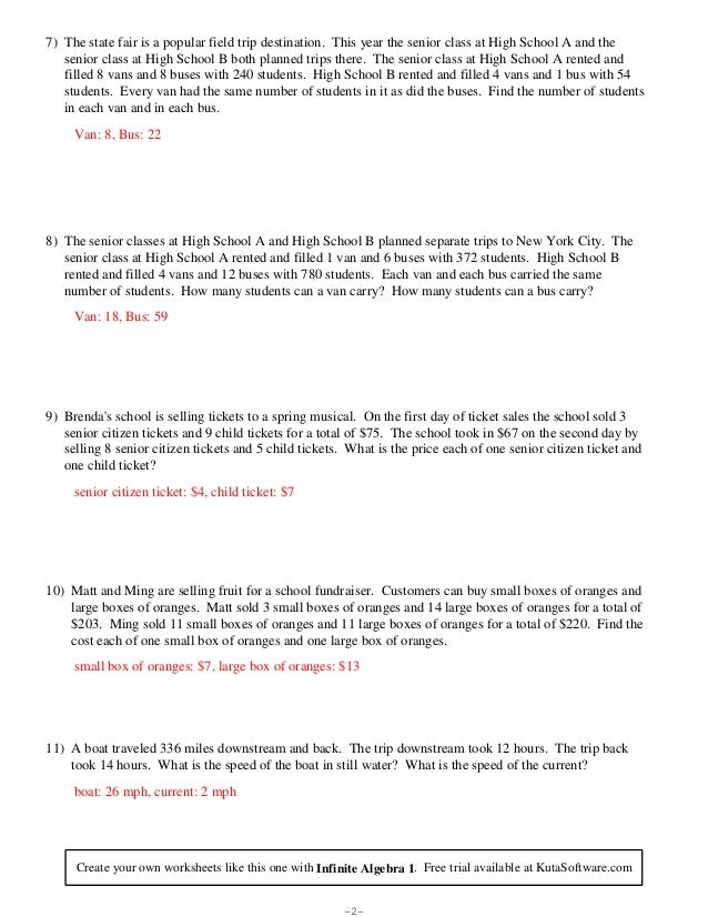 Systems of equations word problems – System of Equation Word Problems Worksheet