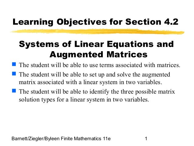 Systems of linear equations and augmented matrices