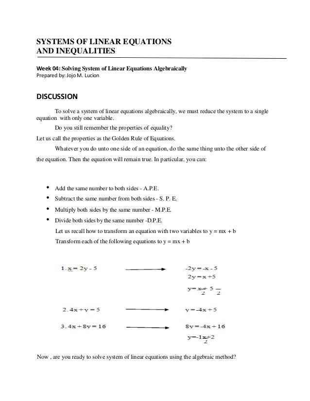 SYSTEMS OF LINEAR EQUATIONS AND INEQUALITIES Week 04: Solving System of Linear Equations Algebraically Prepared by: Jojo M...