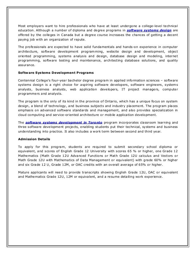 ... Software Systems Development; 2.