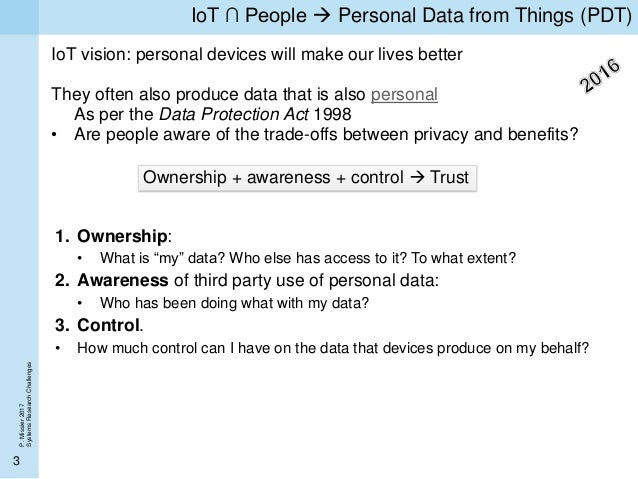 Towards an authority-free marketplace for personal IoT data (Personal Data from Things) Slide 3